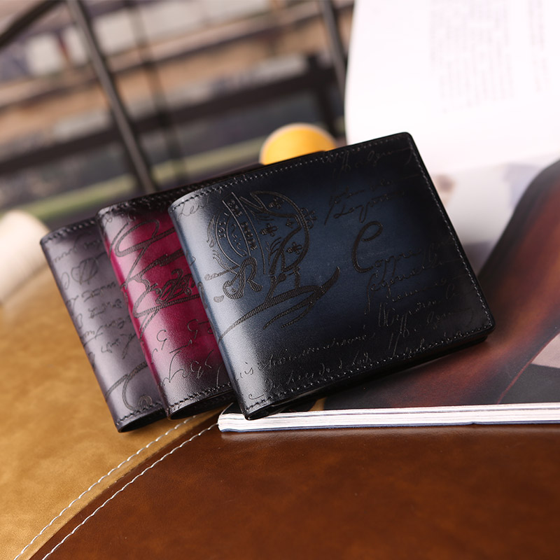 Handmade Italian cow genuine leather men wallets fashion splice purse dollar price carteira masculina original brand scritto new weichen top quality cow genuine leather men wallets luxury dollar price short style male purse carteira masculina original brand
