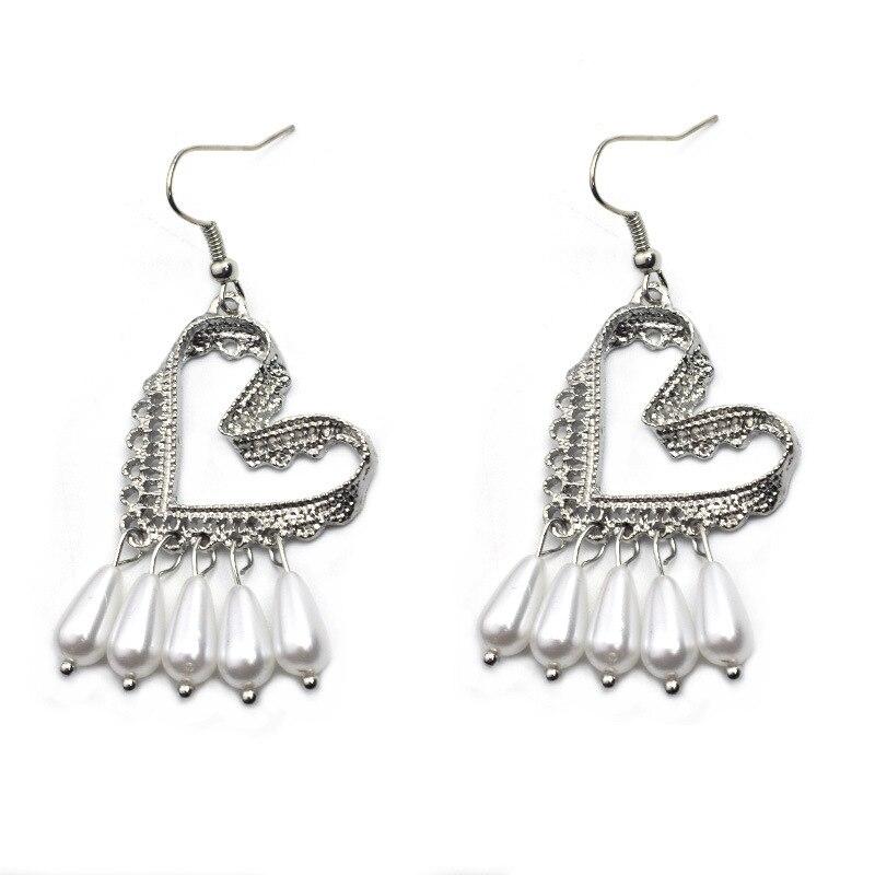 2019 Women 39 s Earrings Korean Fashion Long Dangle Pearl Earrings Vintage Metal Lace Heart Earrings For Women Jewelry Accessories in Drop Earrings from Jewelry amp Accessories