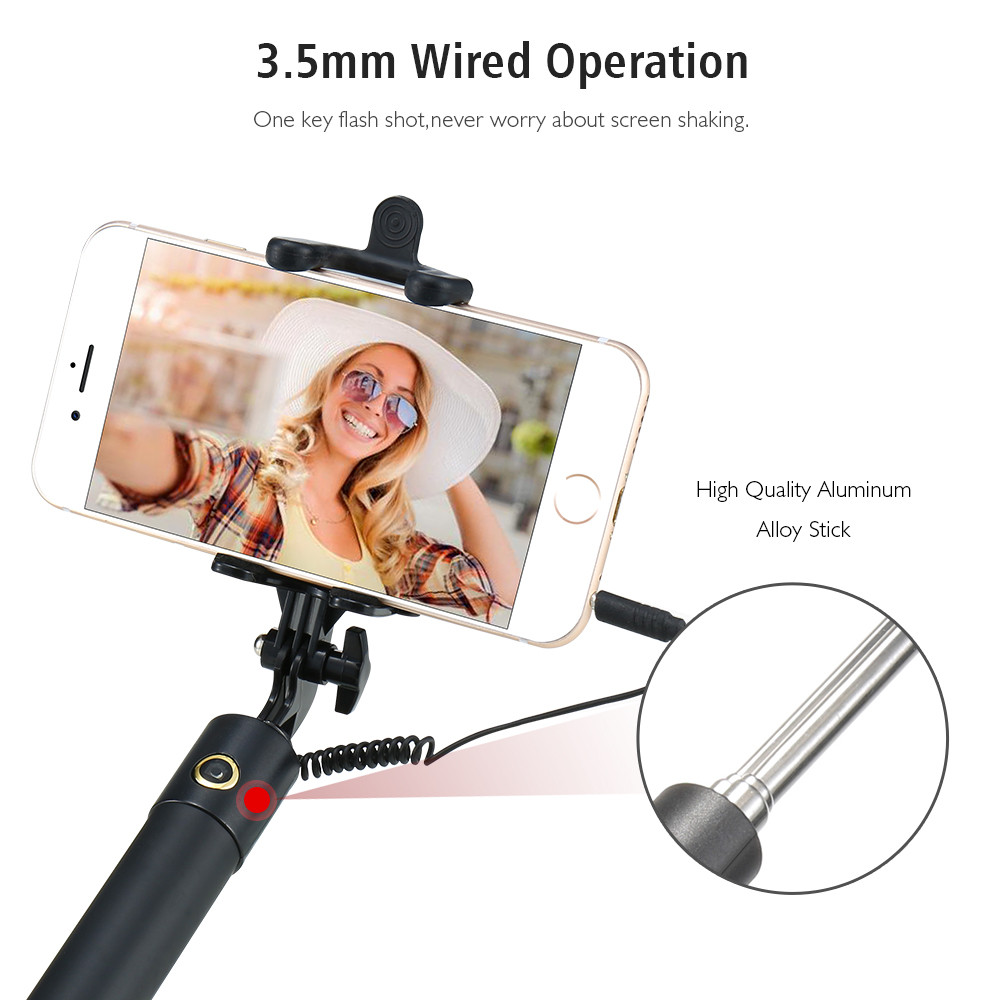 Universal Wired Handheld Selfie Stick Mini Portable Mirror Monopod Self-timer For iPhone For Samsung Galaxy S8 Xiaomi Mi5