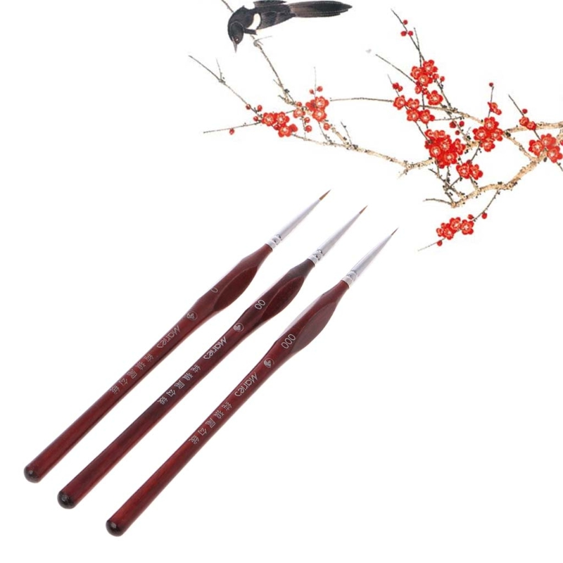 1Pc Miniature Paint Detail Brush Wolf Hair Professional Fine Detailing Pen Size 0 00 000 Hyq