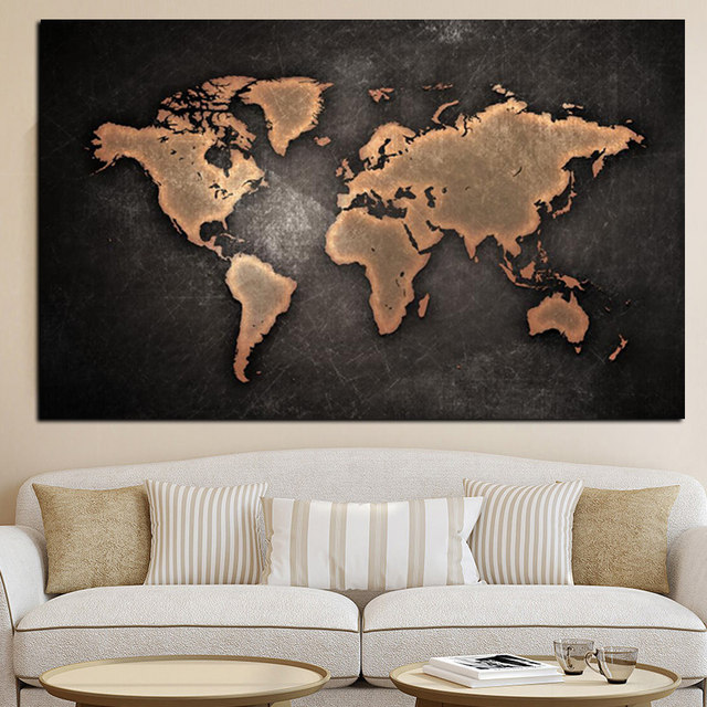 Online Shop Abstract D World Map Canvas Painting Classical Black - 3d world map wall art