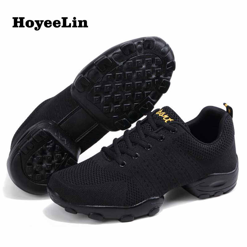 HoYeeLin Mesh Jazz Shoes Men's Modern Soft Outsole Dance Sneakers Breathable Dancing Fitness Training Shoes