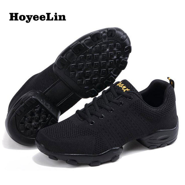 HoYeeLin Mesh Jazz Shoes Mens Modern Soft Outsole Dance Sneakers Breathable Dancing Fitness Training Shoes