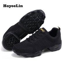 Hoyeelin malha sapatos de jazz moderno macio outsole dança tênis respirável sapatos de treinamento de fitness