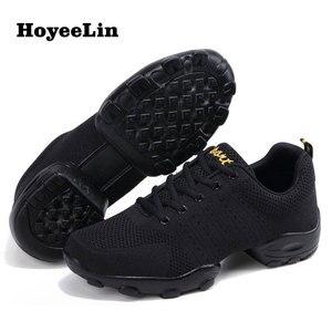 Image 1 - Hoyeelin 메쉬 재즈 신발 남자의 현대 소프트 outsole 댄스 스 니 커 즈 통기성 춤 피트 니스 훈련 신발