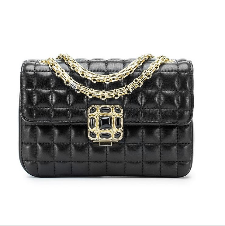 fashion women real leather vintage handbags with diamond gold chain thread handbag for evening party   shoulder bag camino real gold купить грн