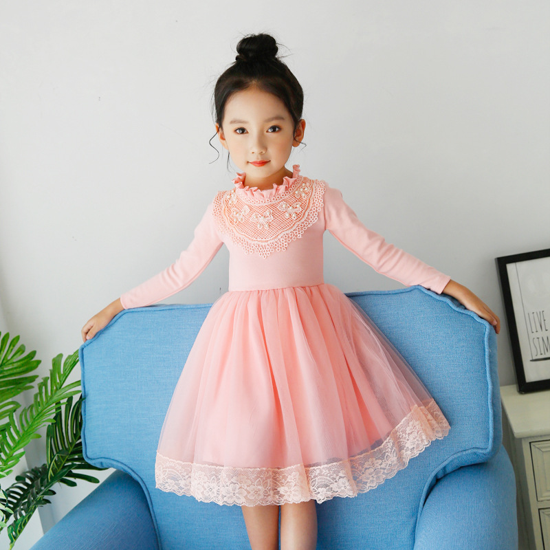 Long Sleeve Girl tutu Dress 2017 New Autumn Winter Lace Dresses Children Clothing Princess Dress Pink White Design Girls Clothes