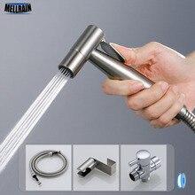 Portátil aseo baño juego de pulverizador para el bidé Kit de mano de acero inoxidable grifo de bidé baño pulverizador de mano ducha cabeza de limpieza