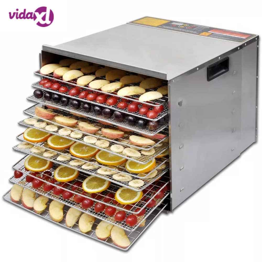 Vidaxl 10 Tray Layer Professional Dehydrator Fruit Food Dryer Stainless Steel Fruit Vegetable Meat Air Dryer Electric Dehydrator