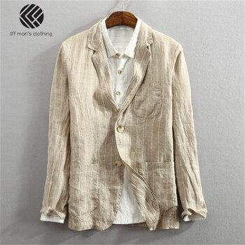 e9111e89fcb8b Erkekler İlkbahar Yaz Moda Marka Japonya Tarzı Vintage Çizgili Slim Fit  Keten Ince Blazers Takım Elbise Erkek Rahat Örnek Takım Elbise Ceket ceket