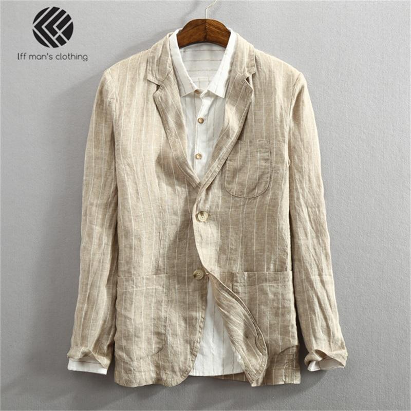 Men Spring Summer Fashion Brand Japan Style Vintage Striped Slim Fit Linen Thin Blazers Suit Male Casual Sample Suit Jacket Coat