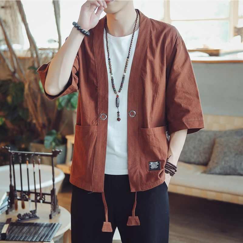 着物男性黒日本の着物男性サムライ衣装男性浴衣羽織日本ストリート服メンズ着物ジャケット DZ2014