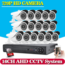16ch AHD CCTV System 1.0MP 2000tvl DVR Kit 16CH Full AHD 1080P 720P DVR 16pcs 720p CCTV Cameras PC&Mobile View Plug And Play