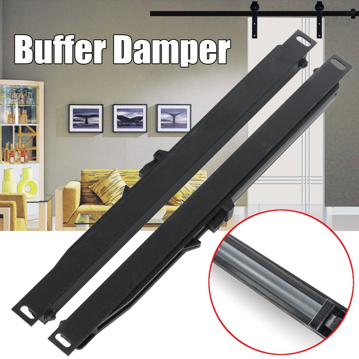Any Side Sliding Barn Door Hardware Soft Close Drawer Slide Track Buffer Damper soft close mechanism furniture remission accessory for sliding barn wood door hardware