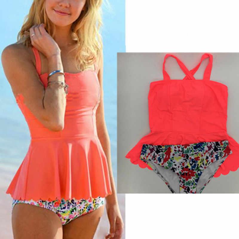 40d306ed81108 KEKAKA 2018 Vintage Neon Red Peplum Tankini Swimsuits Women Plus Size Padded  Two Piece Swim suit
