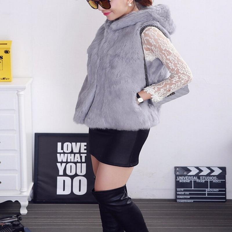 2019 New Arrival Women Real Rabbit Fur Vest Whole Full Pelt Rex Rabbit Fur Gilet Lady
