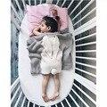 2016 Nueva Otoño Mantas de Bebé Lindo Conejo Gris Hecho Punto Envolver Para El Sofá Cama Cobertores Colcha Mantas Toallas de Baño de Regalo
