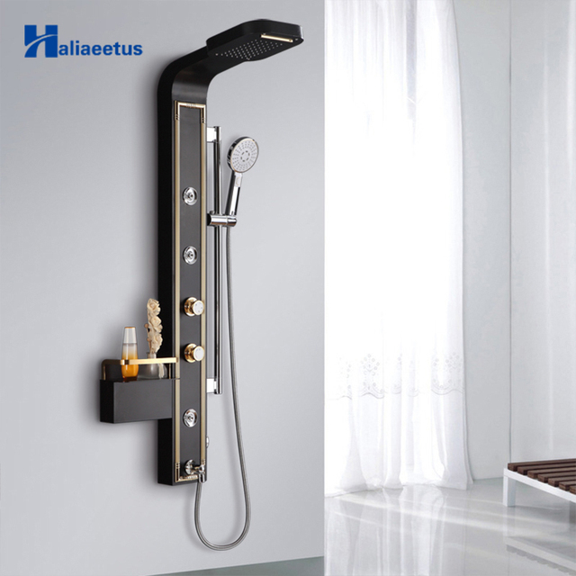 Haliaeetus Stainless Steel Rain Waterfall Shower Panel Wall Mounted SPA  Massage System Shower Column Kit With