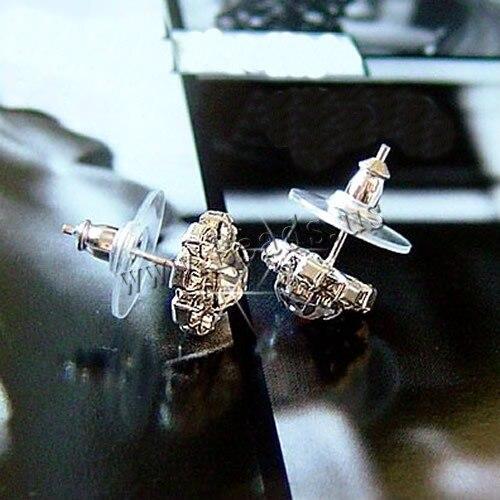 Free shipping Women Jewelry Stainless Steel Pin Stud Earrings Rhinestone Crystal Cubic Zirconia Flower Stud Earrings 2017 New
