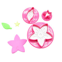 3PCS Bake Cake Mould (Flower, Leaf, Star) Pink Kitchen DIY Decorating Tools New