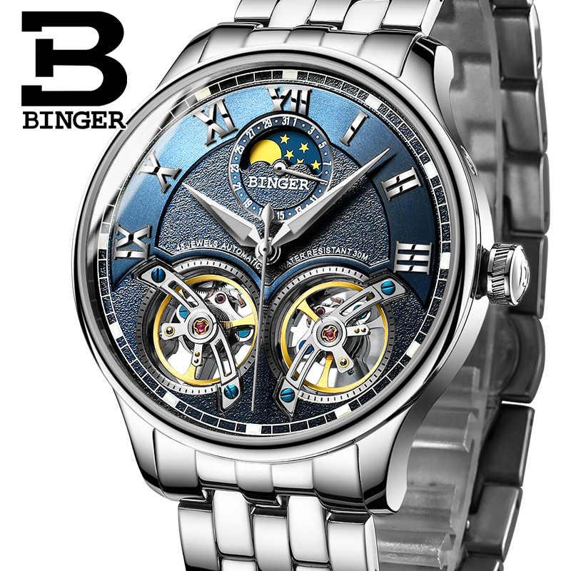 3f6da1f088a0 Швейцария Механические Для мужчин часы Бингер роль Элитный Бренд Скелет  наручные ...