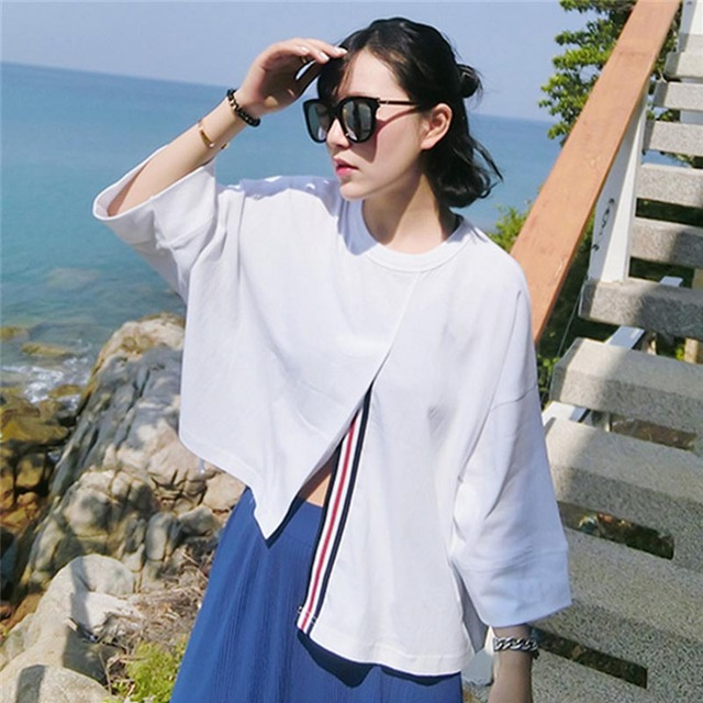 ec6a417e5ec50 Latest Design Fashion Women Open Fork T-Shirt Sweet Korean White Long Tops  O-Neck Casual Business Attire