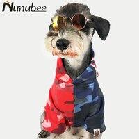 Nunubee الكلب كلب الملابس الأزياء التباين اللون معطف هوديي ل أفطس الكلاب الصغيرة الكبيرة زي S-XXL