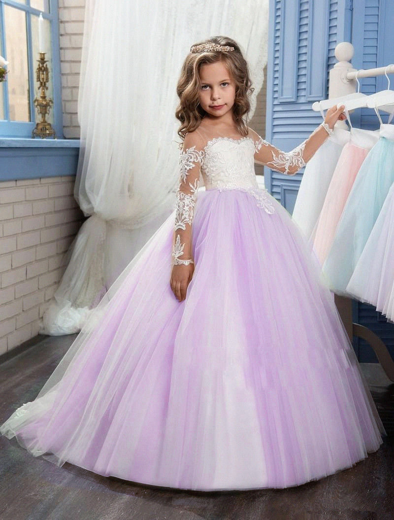 2017 Romantic Light Blue Puffy Lace Flower Girl Dresses