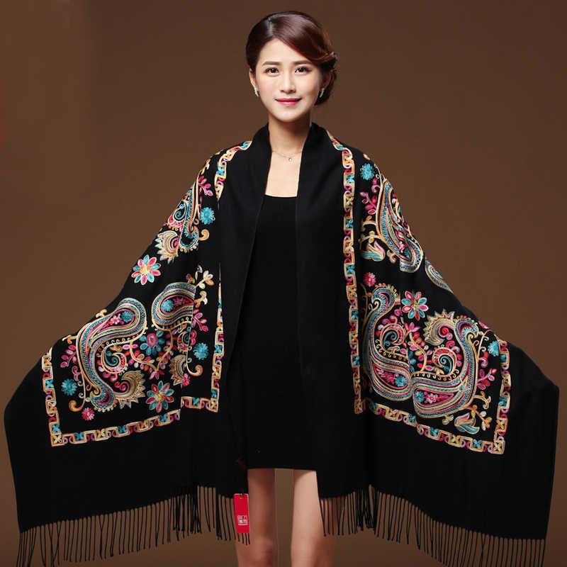 Женский черный кашемировый шарф из пашмины с вышитыми цветами, зимний теплый шарф с кисточками, большие размеры, модная шаль, шарфы WS1217
