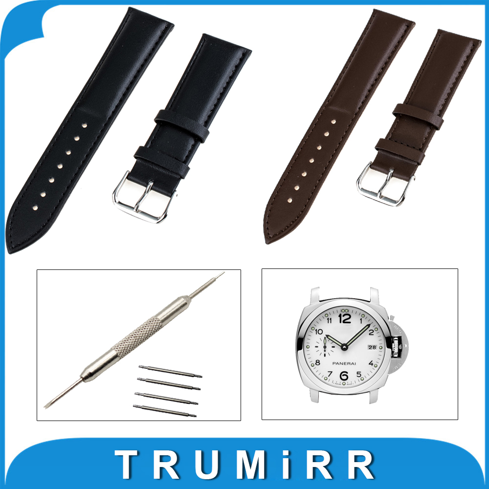 22mm 24mm Genuine Leather Watchband Stainless Steel Buckle Strap for Panerai PAM Luminor Radiomir Watch Band Wrist Belt Bracelet цена 2016