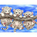 Diy Diamond Painting Three little Tigers Diamond Embroidery All Drill The Tiger On The Tree Square Drill Draw The Paste
