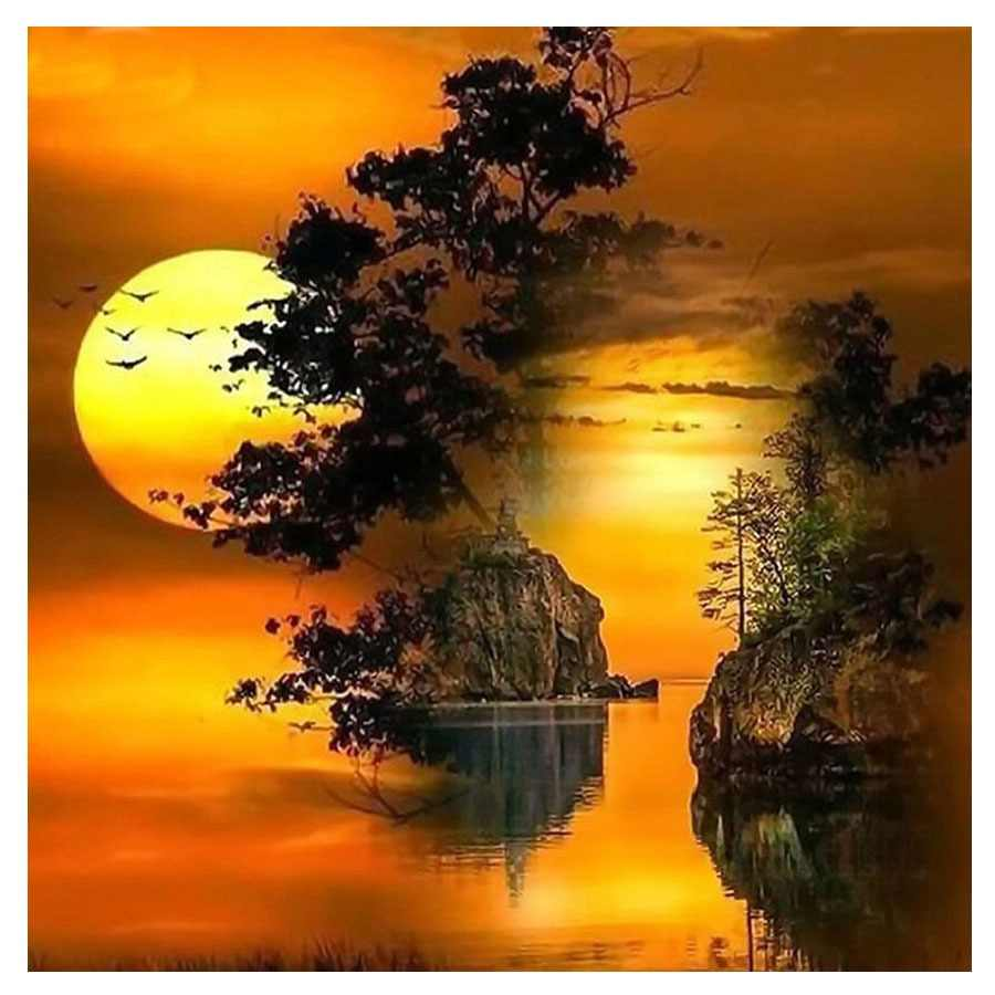 5D Diy Diamond Painting Landscape Sunset Cross Stitch moon night Diamond Mosaic Craft Diamond Embroidery Needlework Paintings