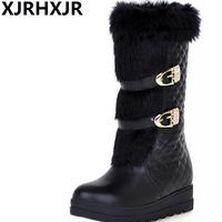 XJRHXJR Winter Plush Warm Boots Wedges Heels Fashion Buckle Fur Boots Women Shoes Snow Boots Black