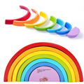 1 Set Wooden Colour Sort Rainbow Blocks Children's Circle Set Creative Baby Kids Toys Early Learning Educational Game Gifts