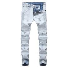Fashion 2019 autumn winter Europe design washing denim Pleated Fold Cotton light blue Slim Ripped hole destroyed Biker jeans men