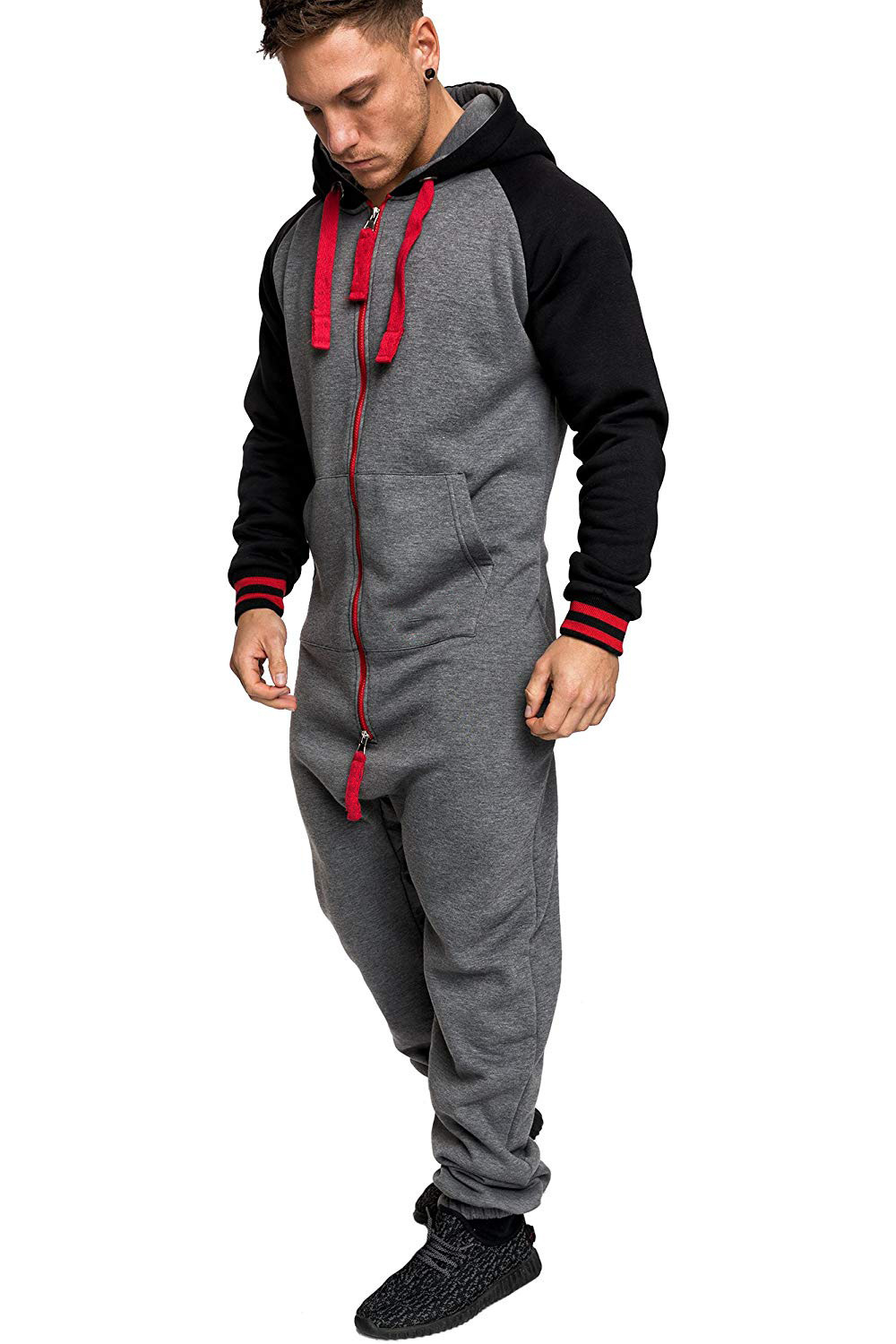 Casual Autumn Hooded Tracksuit Jumpsuit Long Pants Romper For Male Mens Fleece warm Overalls Sweatshirts Male Streetwear X9126 26