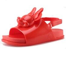 sandal gadis mini untuk gaya kartun sepatu lembut PVC musim panas anak-anak tumit datar sepatu kulit lembut