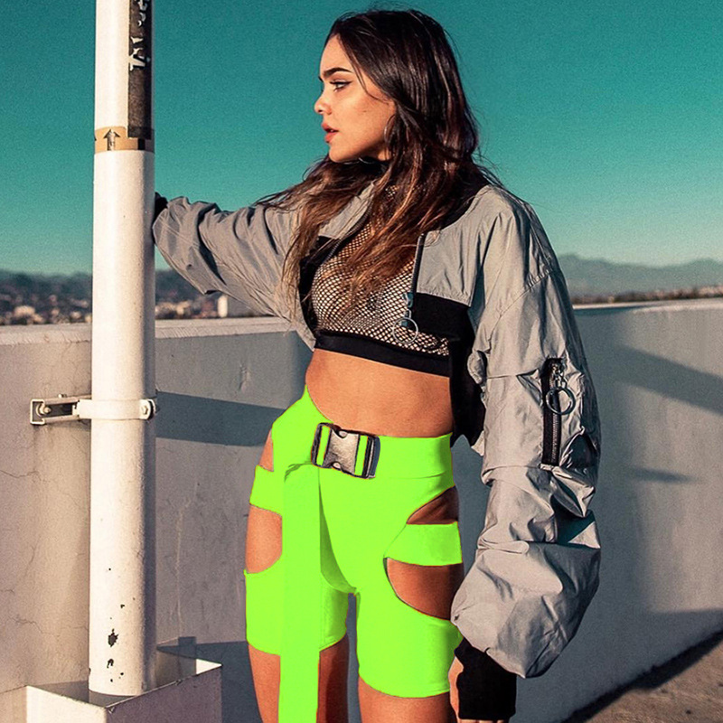 Women Fashion Shorts Hollow Out Neon Green Fitness High Waist Drawstring Skinny Femme Trousers Sexy Streetwear Summer