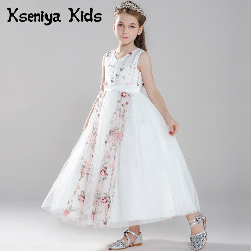 Kseniya Kids Dresses For Party And Wedding Flower Net Ball Gown Big Girl Princess Dress V-neck Long Evening Dresses vintage net panel fit and flare dress