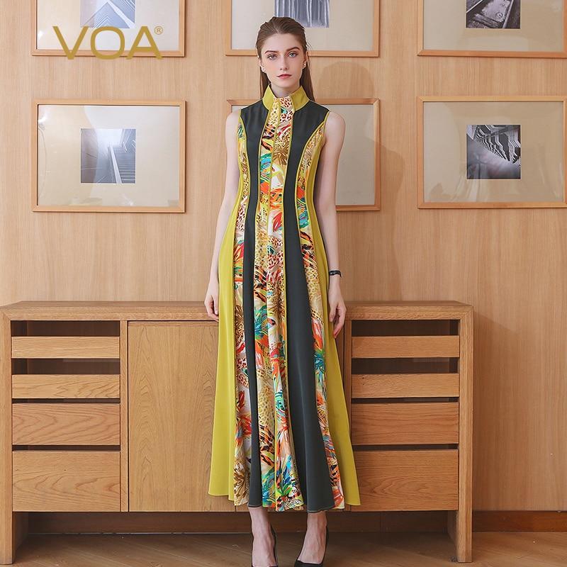 VOA плюс Размеры взлетно посадочной полосы тяжелый шелк макси длинное платье в складку Для женщин без рукавов в стиле пэчворк желтый с принто