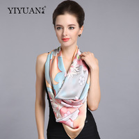 100% Natural Silk Square Scarves Female Pure Silk Scarf Fashion Flower Printed Sunscreen Shawls Large Size 110cm x 110cm SF303
