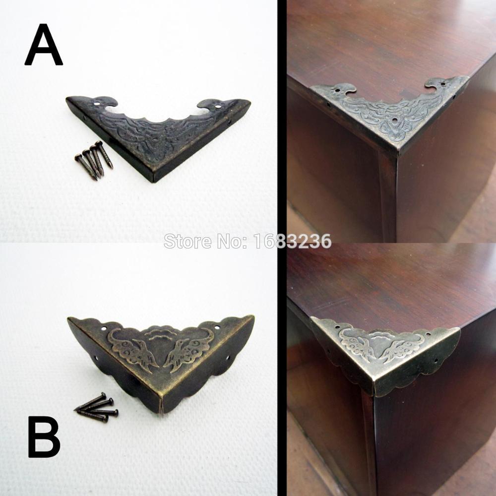 12 X Wood Box Corner Protector Jewelry Wine Gift Case Decoration w// Nail Vintage