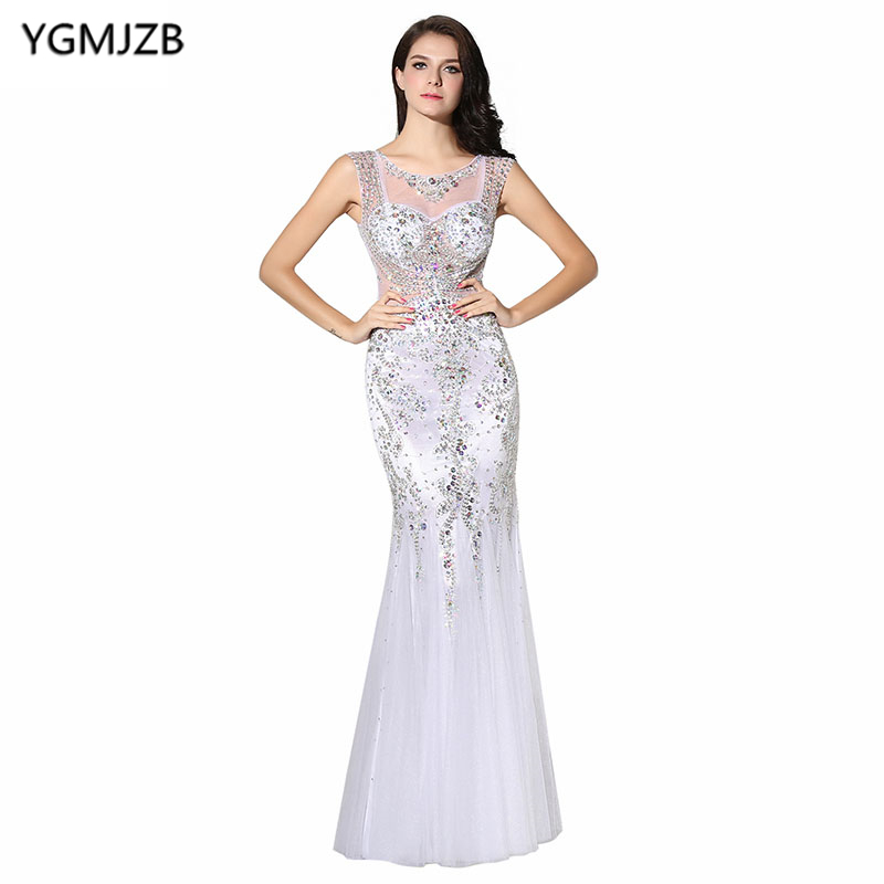 New Arrival Arabic   Evening     Dresses   2018 Mermaid Sheer Scoop Neck Heavy Beaded Crystal Sequin   Evening   Gown Long Prom   Dress