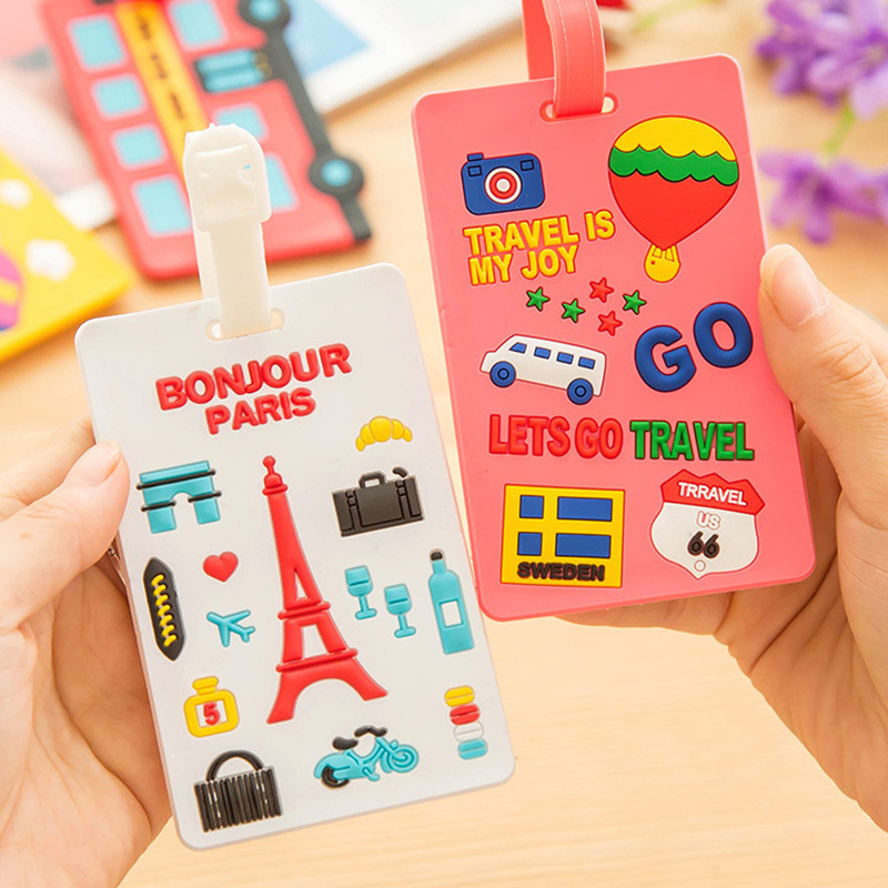 Cute Travel Accessories PVC Suitcase Luggage Tag Cartoon ID Address Holder Baggage Label Silica Ge Identifier Travel Accessories