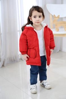 Boys Fleece Jacket | Kids Fleece Parkas Winter Coat Jackets 2018 Winter New Boys Girls Warm Jacket Hooded Solid Long Outerwear 80 90 100 110 120