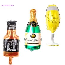 50pcs/lot Party beer bottle Glass Whisky Foil Balloon Decor Holiday congratulatory supplies birthday party accessories globos