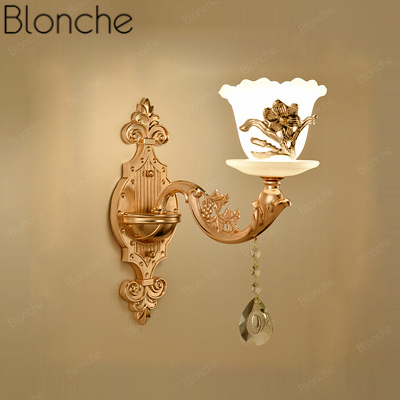 Modern Led Wall Sconce European Gold Luxury Wall Lamp for Bedroom Living Room Bedside Home Decor Lighting Aisle Glass Fixtures