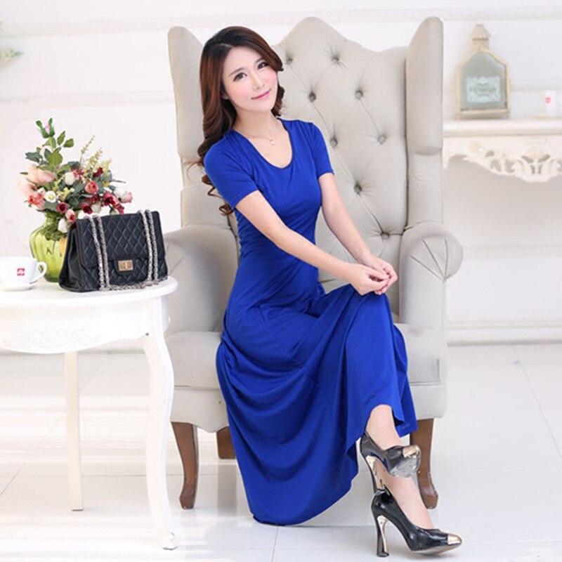 2016 Módní letní šaty Sexy ženy Maxi šaty Plus Velikost Jednobarevné O-krku Neformální šaty Elegantní večerní večírek Dlouhé šaty Vestidos