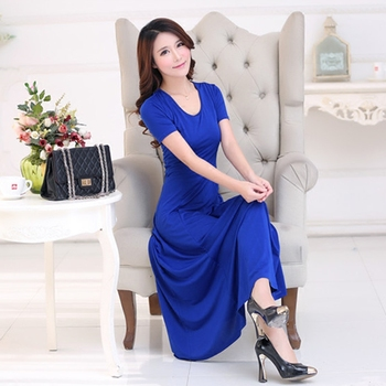 43323ffbbb 2016 moda verano vestido sexy mujeres Maxi vestido más tamaño sólido  o-cuello casual vestido elegante partido De noche largo Vestidos vestidos