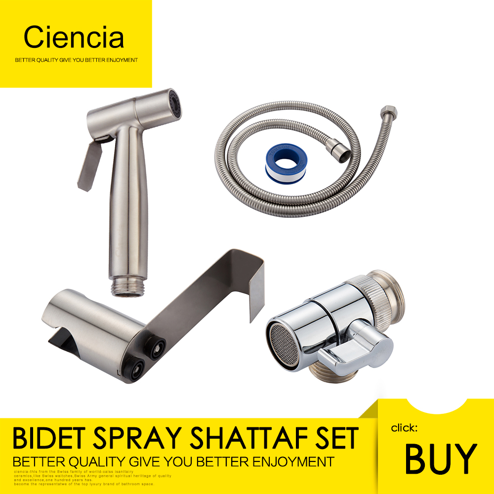 Free shipping SUS304 Stainless Steel Nickle Bathroom Handheld Bidet Shattaf Sprayer with valve